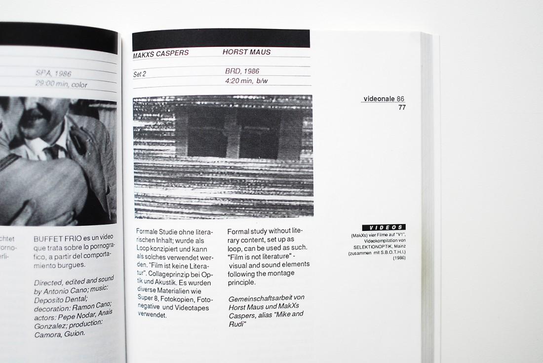 """Katalog der """"Videonale Bonn 1986"""" mit dem Beitrag """"SET 2, V.3"""""""